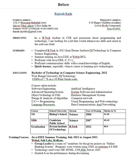 bca resume format headline for freshers 1 functional mca carte grise