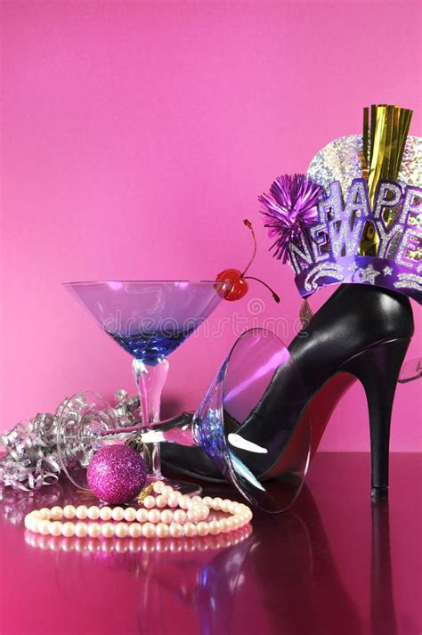 new year theme event pink theme happy new year with vintage blue martini