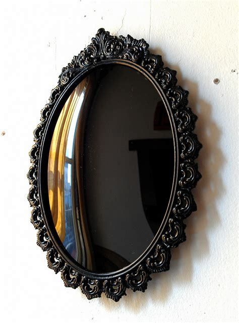 black mirror video black convex scrying mirror in vintage oval frame 9 by 6