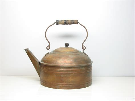 Vintage Antique Copper Kettle with Patina