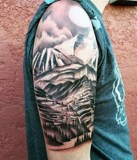 sun half sleeve tattoo designs brilliant mountains with sun on half sleeve