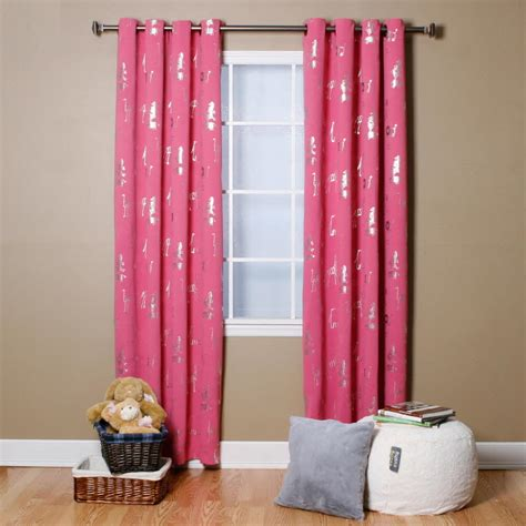 pink star curtains pink star foil printed blackout curtains pair