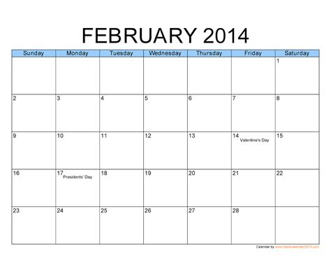 2013 February Calendar Printable