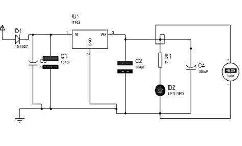 resistor diode voltage regulator power supply circuit diagram d1 d2 diodes u1 voltage regulator