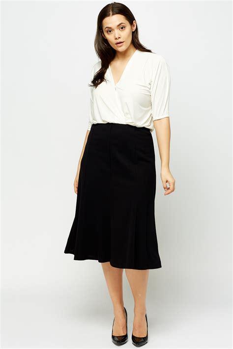 plus size swing skirt black elasticated midi swing skirt just 163 5
