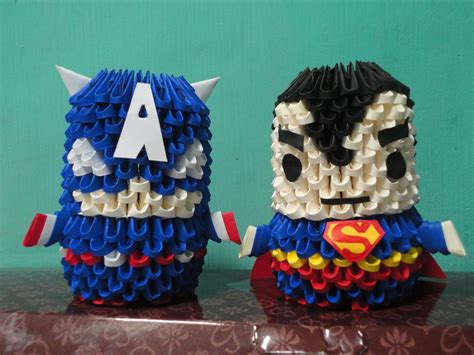 3d Origami Superman - 3d origami superman and captain america by frenchfries08
