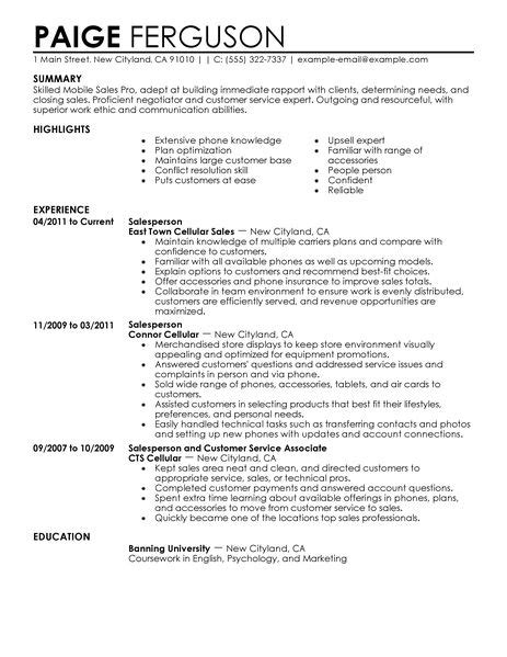 Mobile Sales Pro Resume Examples Retail Resume Examples