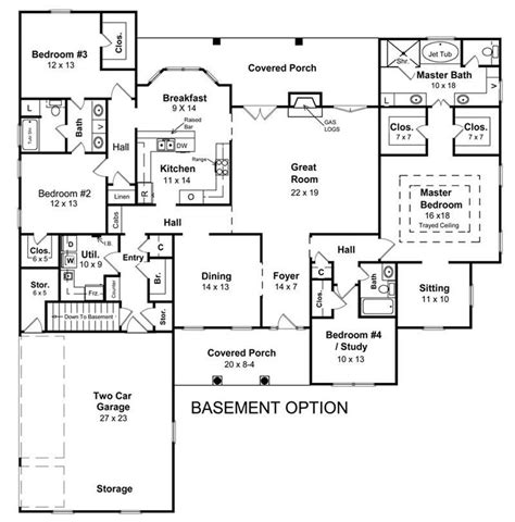 alternate basement floor plan 1st level 3 bedroom house