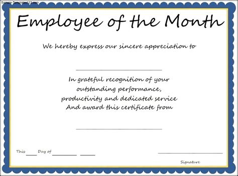 Free Templates For Awards by Employee Of The Month Award Certificate Template Sle