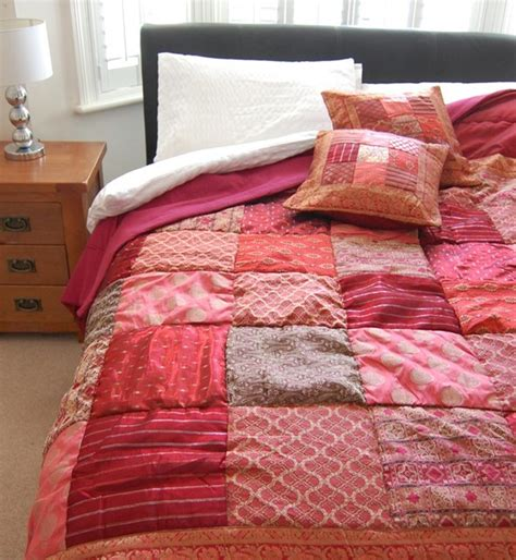 red sari brocade indian quilt asian comforters and