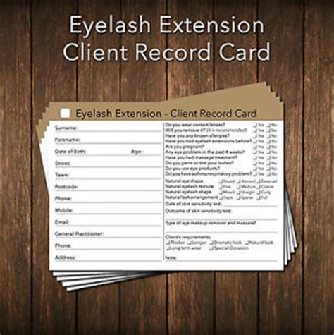 eyelash extensions record card template eyelash extension client card client record card