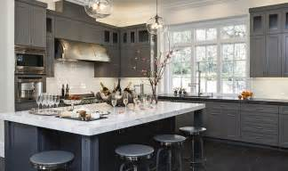 Dark Gray Cabinets Kitchen by Leathered Granite Countertops Contemporary Kitchen