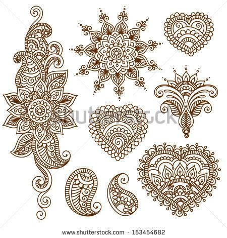 feathers mehndi style vector designs set vector henna ornamental flowers vector set with abstract floral