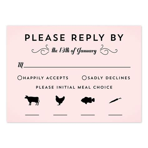 Wedding Response Card Template With Meal Choice by Classic Penmanship Response Cards Shops Cleanses And