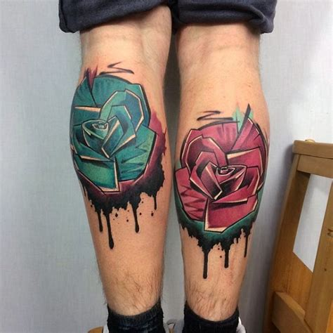 tattoo new school style colored leg tattoo of new school style flowers