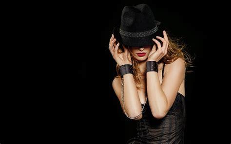 wallpaper girl black black hat wallpaper