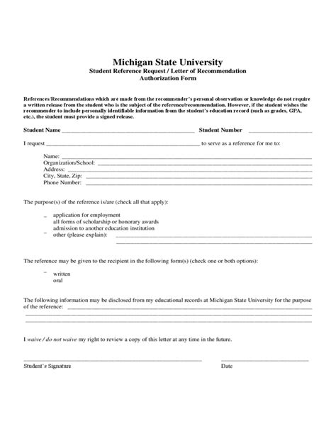Student Letter Of Recommendation Questionnaire reference release form 2 free templates in pdf word