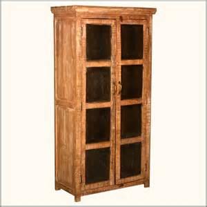 Storage Armoire With Shelves Metal Mesh Window Doors Reclaimed Wood Storage Cabinet