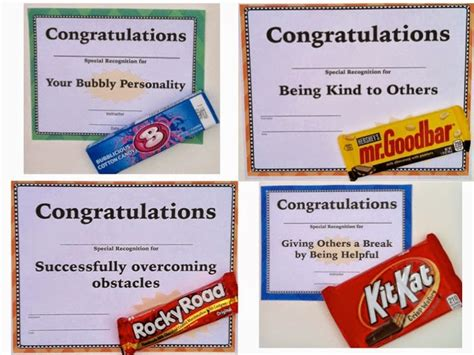 composition classroom end of year candy award certificates