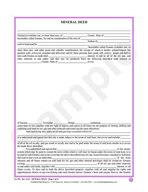 mineral deed bradford publishing