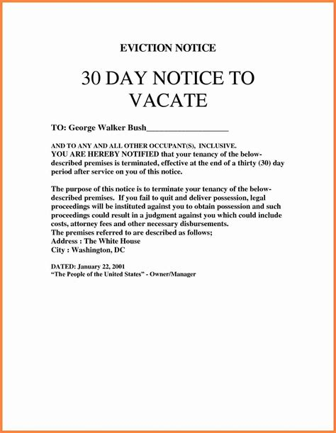 Section 25 Notice Template by 4 Eviction Notice Template Uk Notice Letter