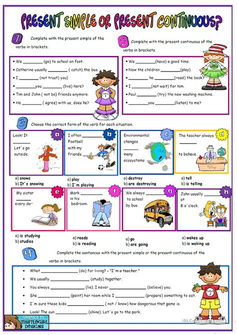 Simple Present Present Continuous Worksheet by Present Simple Vs Present Continuous Worksheet Free Esl