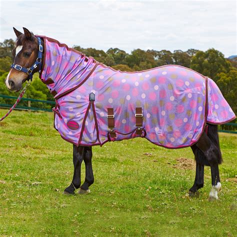 pony rug weatherbeeta airflow neck combo pony fly rug purple polka dots redpost equestrian