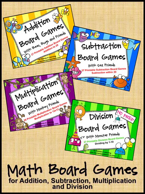printable math division board games fun printable math board games for addition subtraction