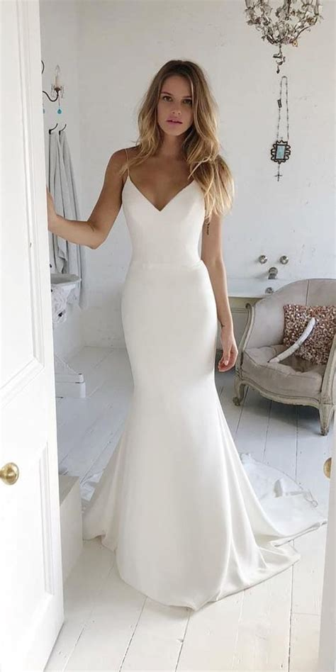 simple elegant wedding dress  neck charming  rosyprom