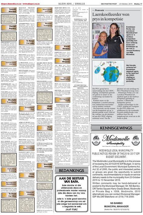 te koop te huur nylstroom die pos 23 oktober 2015 by die pos koerant newspaper issuu