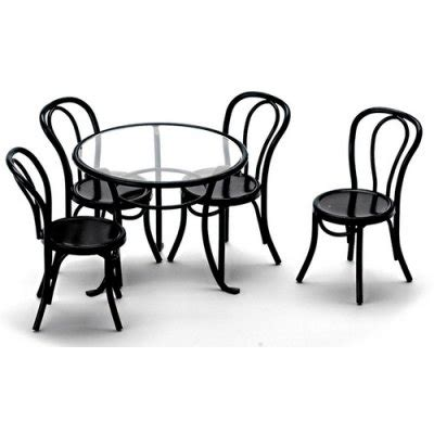 Black Glass Patio Table Black Metal Glass Patio Table Chairs Set 5pc S Dollhouse Miniature Furniture