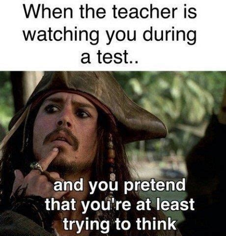 Meme Test - when teacher is watching you doing test funny pictures