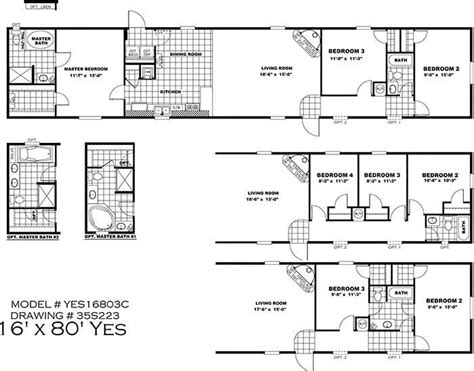4 Bedroom Mobile Home Floor Plans by New 16x80 Mobile Home Floor Plans New Home Plans Design