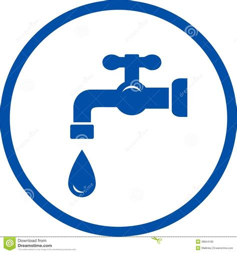 blue icon with faucet and drop stock vector image 38844185