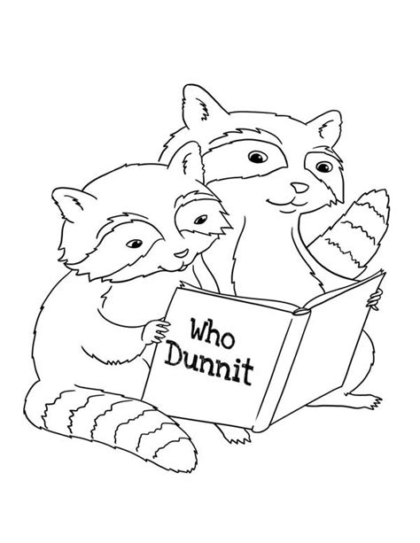 raccoons stole my baby jesus books two raccoon reading book coloring page netart
