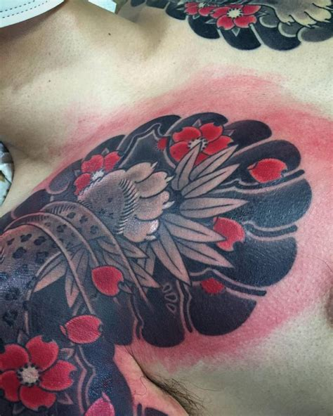 japanese tattoo close up japanese style chest tattoo close up