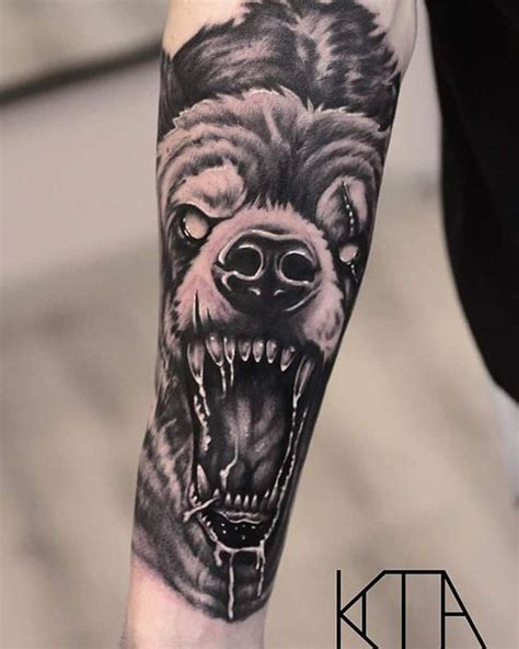bear sleeve tattoo designs realistic black and grey on the forearm