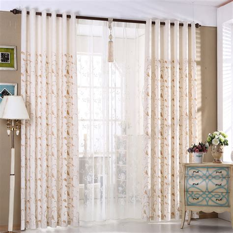 country living room curtains beige boatnical embroidery linen cotton blend country
