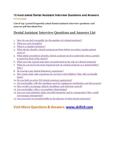 15 most asked dental assistant questions and answers