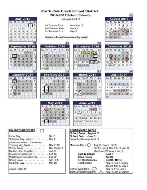 Current Calendar Year Current School Year Calendar Cow Creek School