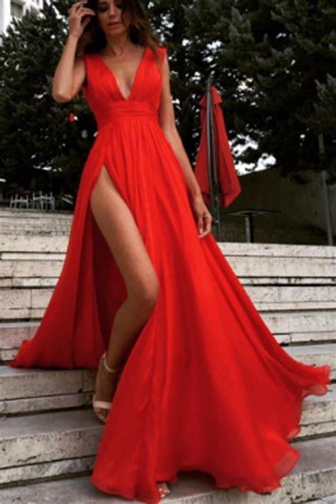 sexy deep  neck red side slit sleeveless prom dressred
