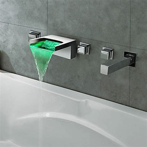 Bathtub Tap by Thermochromic Chrome Finish Led Waterfall Bathroom Tub Tap