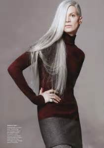 hair with grey models kristen mcmenamy lets her long gray hair down in vogue