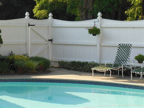 white wooden fence  attractive pool fencing ideas