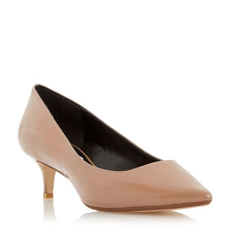 heeled shoe dune annielou pointed kitten heel court shoes in beige