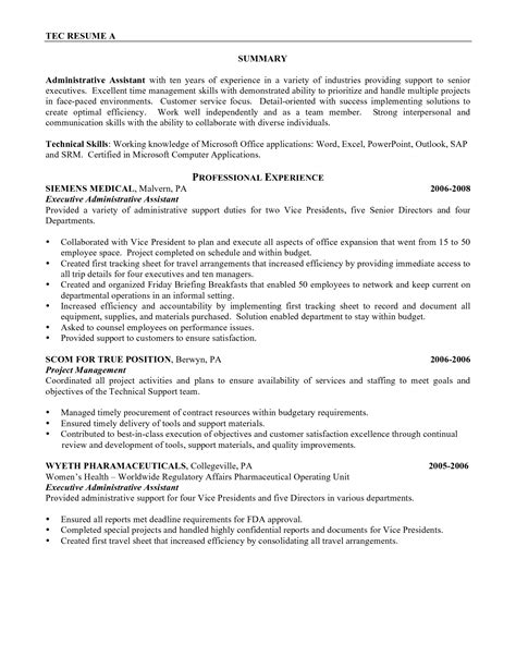 Resume Sle Of An Executive Assistant Administrative Assistant Resume Sales Assistant Lewesmr