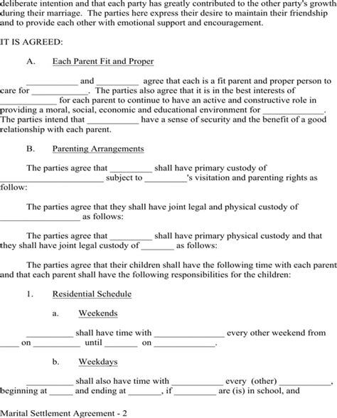 Download Sle Marital Settlement Agreement Provisions For Free Page 2 Formtemplate Marital Settlement Agreement Template