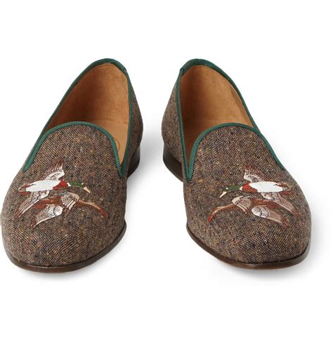 stubbs and wootton slippers stubbs wootton embroidered tweed slippers in brown for