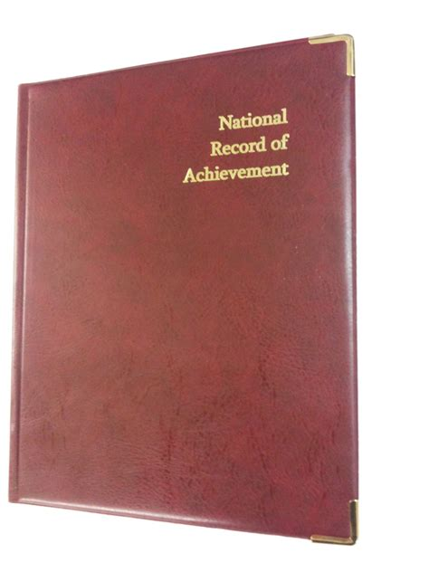 Record Of National Record Of Achievement Pvc Folder In Burgundy Leather Look Gold Print 163