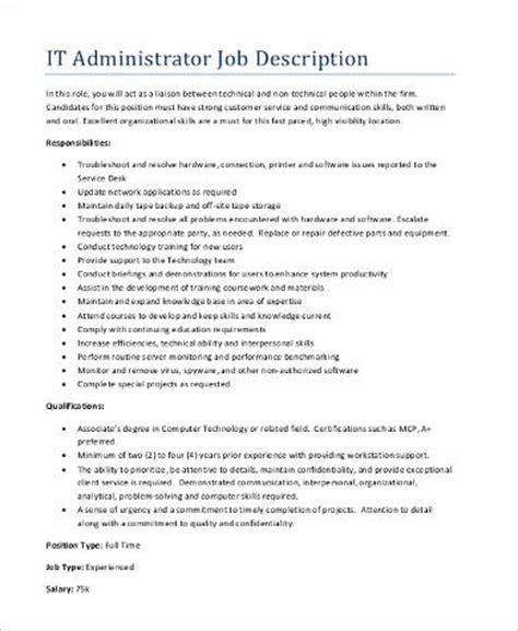 sle administrator job description 9 exles in pdf